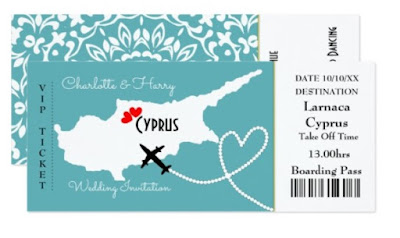 Cyprus destinationw edding invitations boarding pass