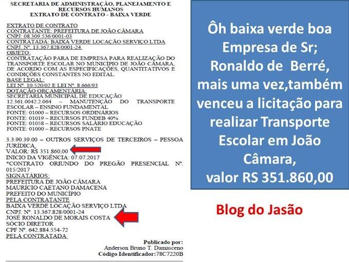 Empresa de Sr; Ronaldo de  Berré, mais uma vez, também venceu a licitação para realizar Transporte Escolar em João Câmara,  valor RS 351.860,00