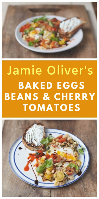 Jamie Oliver's Baked Eggs in Popped Beans and Cherry Tomatoes for the Perfect Vegetarian Breakfast from Everyday Super Food cookbook. #breakfast #vegetarianbreakfast #jamieoliver #jamieoliverrecipes #breakfastrecipe #healthybreakfast #easybreakfast #beans #cherrytomatoes #tomatoes #ricotta #toast