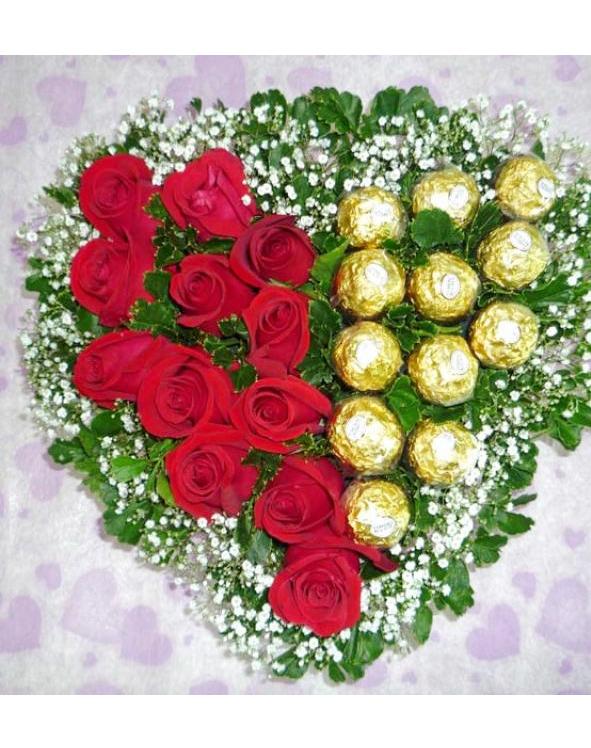 rangkaian bunga mawar merah & cokelat