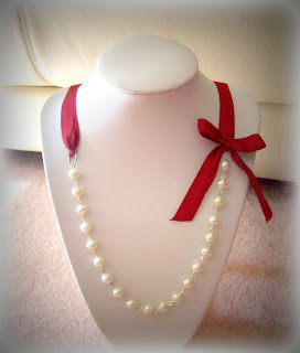 margarita baroque necklace cream glass pearls burgundy ribbon weddings bridal feminine bow