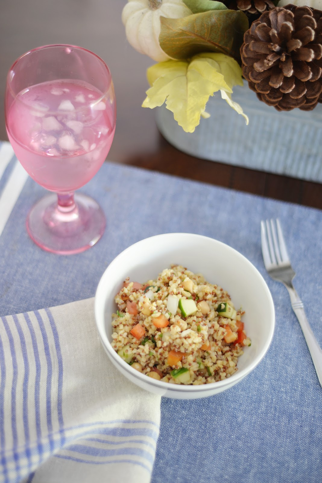 bulgur quinoa salad with lemon balsamic vinaigrette