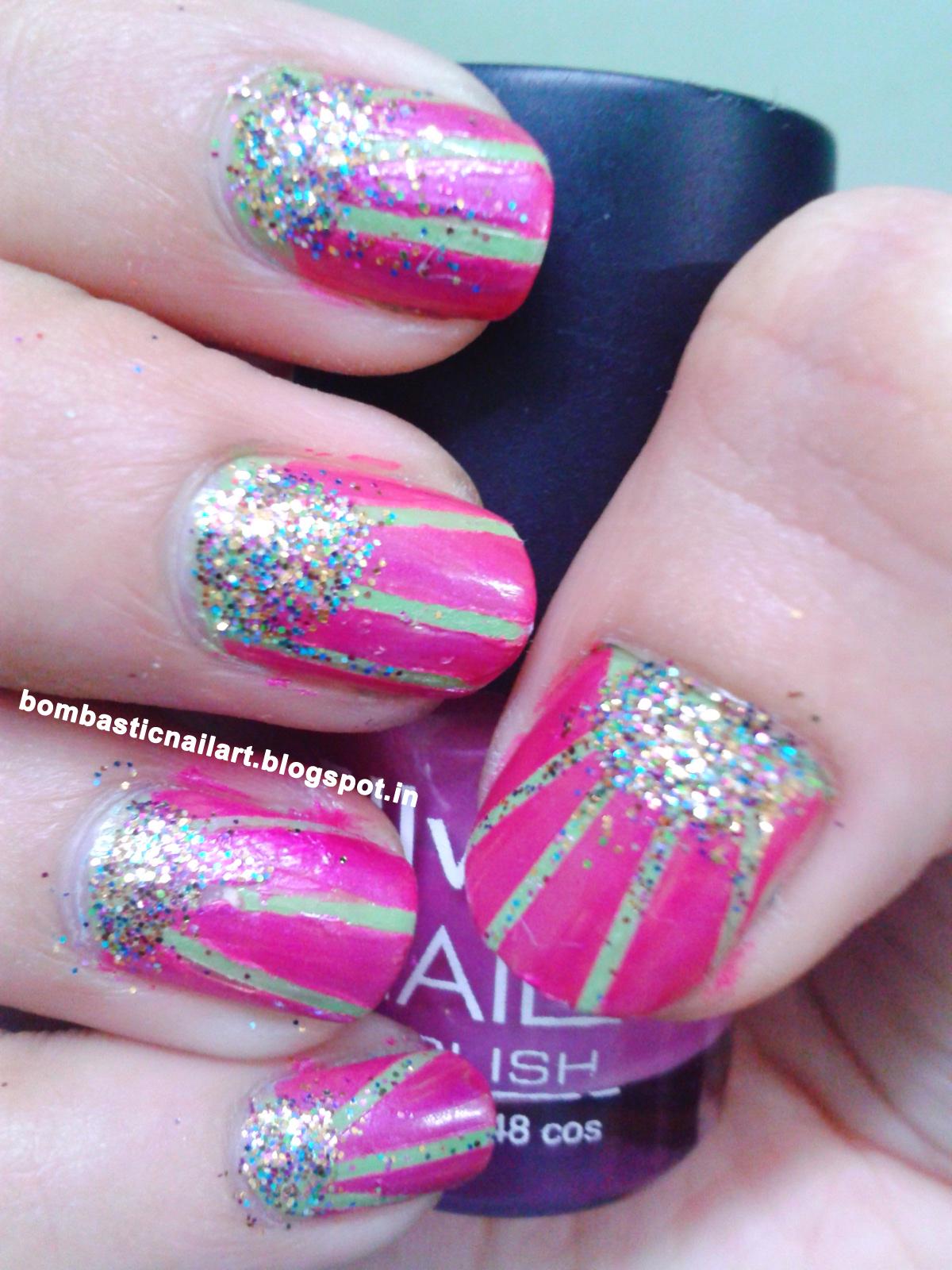 Green and Pink Half moon striping tape nail art