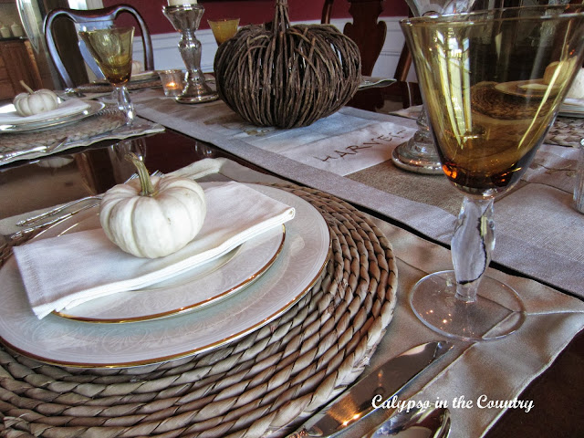 Autumn Table Setting with White Pumpkins and natural textures