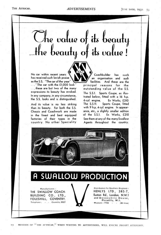 S.S. 1 car advertisement 1932