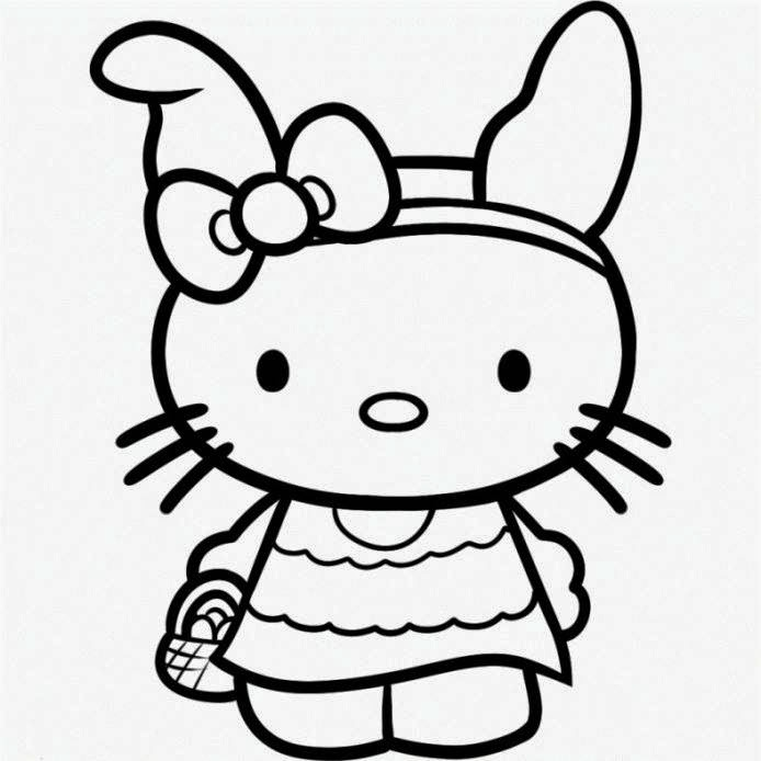 Hello Kitty - Free printable Coloring pages for kids | 694x694