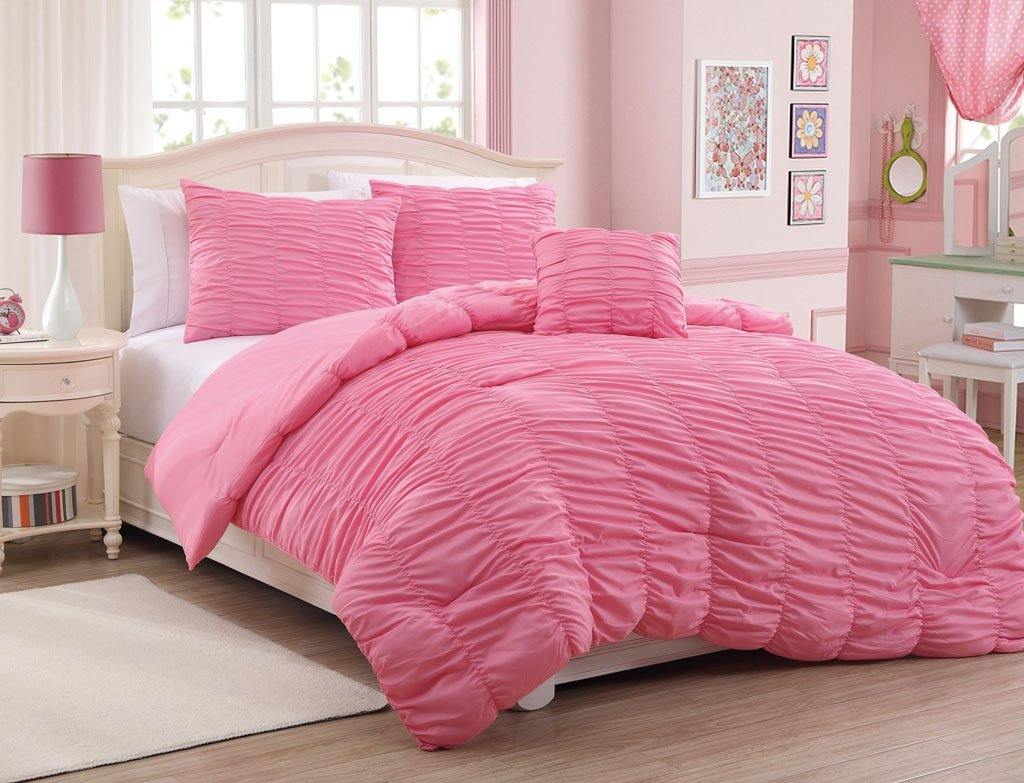 Rose Colored Bedding: Comforters, Sheet Sets & Pillows