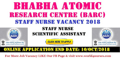 Bhabha Atomic Research Centre (BARC) Nurse & Scientific Assistant Vacancy 2018