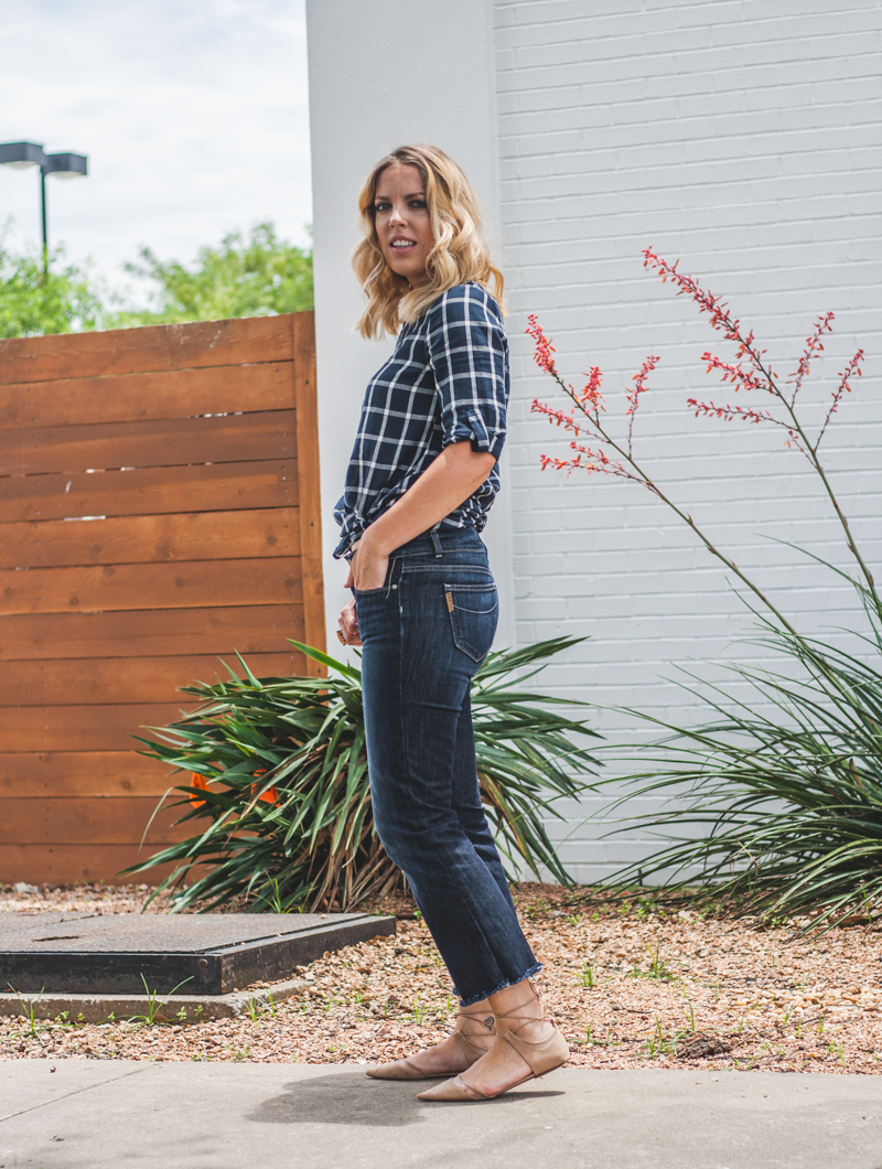 Cropped Denim and Lace Up Flats