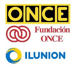 Unión de los logos de ONCE,Fundación ONCE,ILUNION