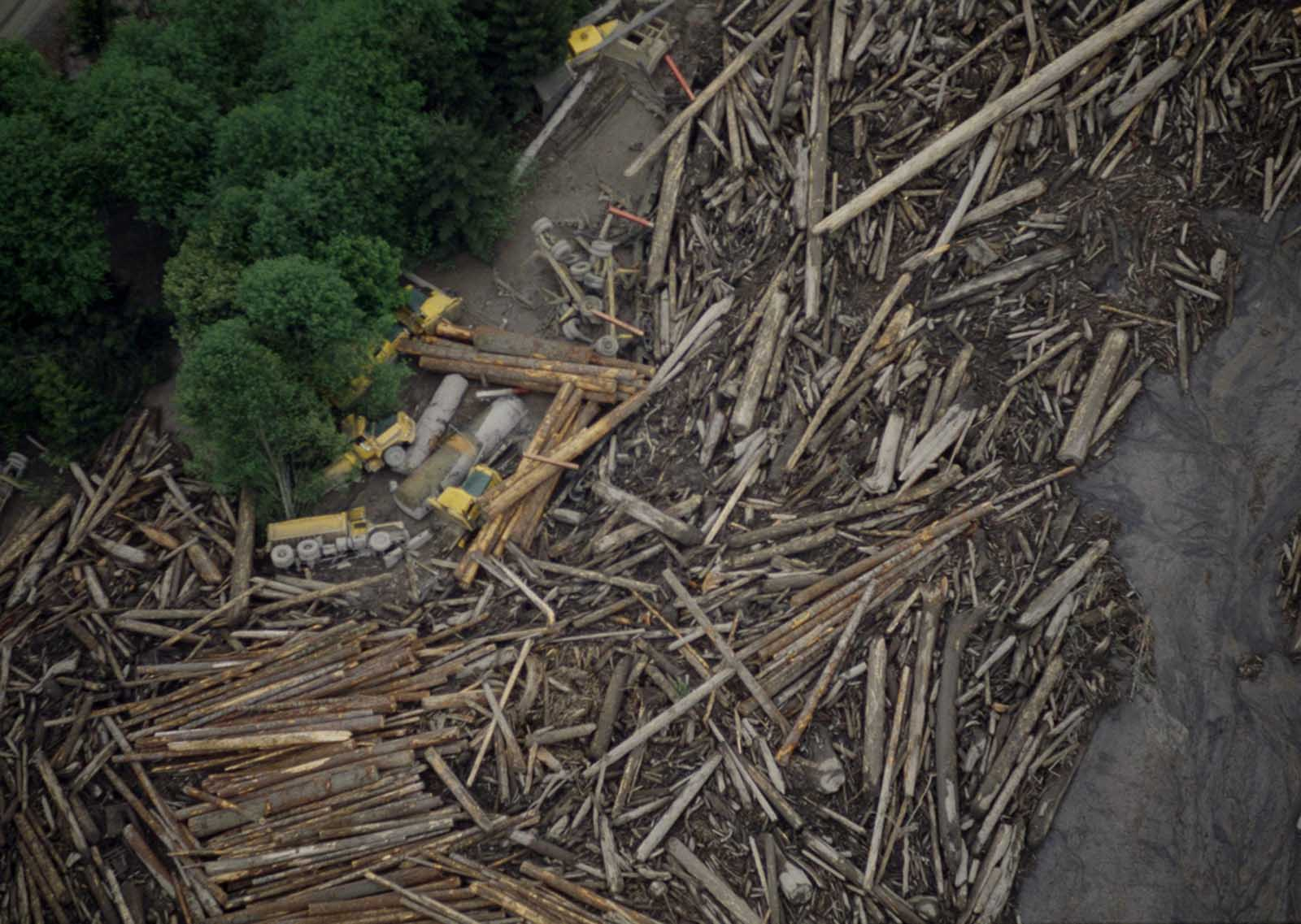 A logging operation along the Toutle River, Washington, about 20 miles from Mount St. Helens, in ruins after flooding from ice and snow melt from the mountain, in May of 1980.