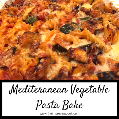 Close up of Mediterranean vegetable pasta bake
