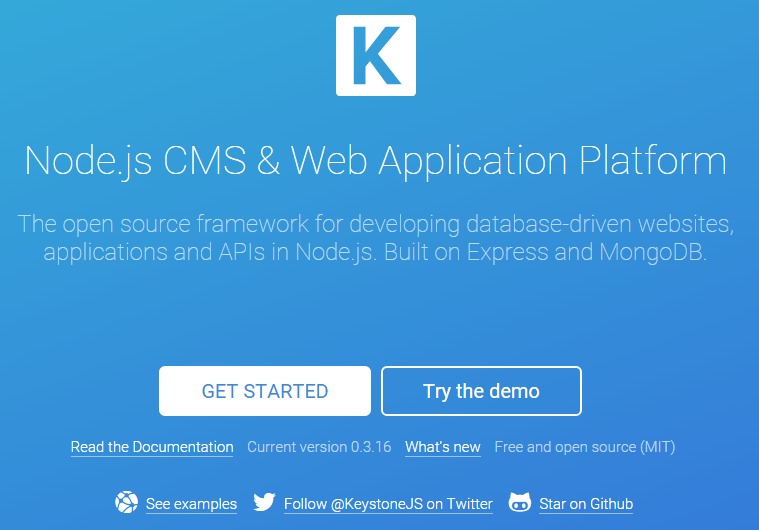 Nodejs CMS Web Application Platform For Developing Database Driven Websites It Is Built On Express And MongoDB The Features Of KeystoneJS Includes