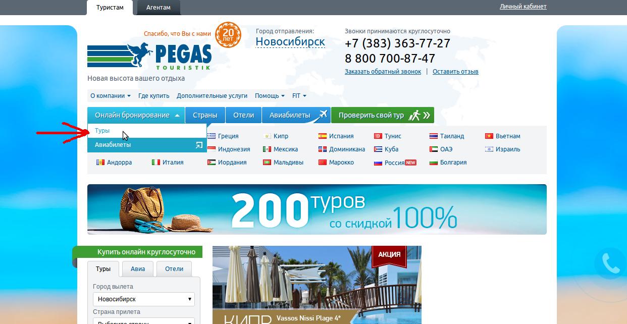 Поиск отеля на сайте пегас