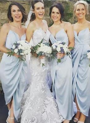 Spaghettis-Straps Slit Sky-Blue Ruffles Sheath Bridesmaid Dresses