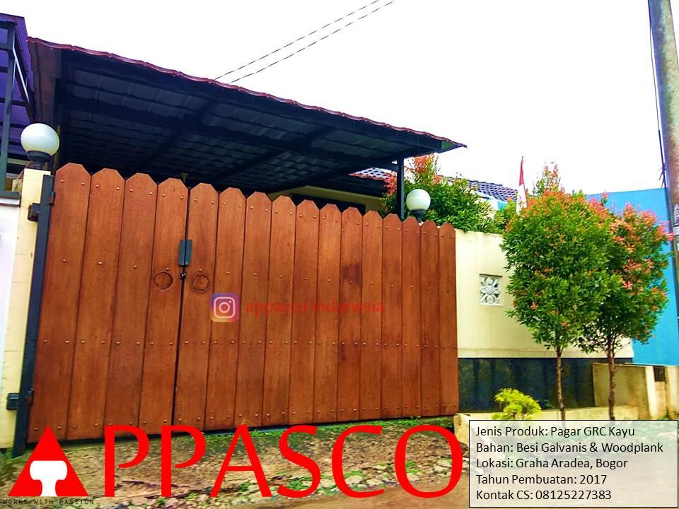 Pagar Minimalis GRC Kayu Woodplank Galvanis di Graha Aradea Bogor