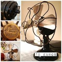 Ventiladores antiguos vintage para decorar. Ventilador antiguo funcionando. Objetos antiguos para decoradores y escaparatistas en valencia