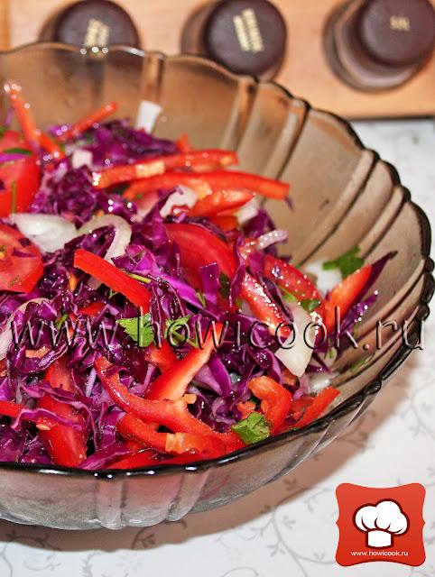 рецепт легкого салата с капустой с фото