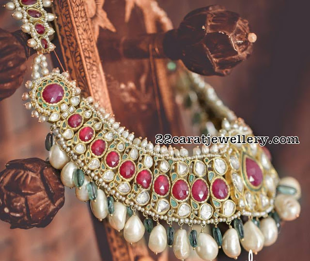 Kundan Ruby Choker with Pearl Drops