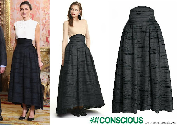 Queen Letizia wore HM Conscious collection silk-linen blend long skirt