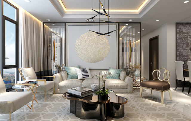 Thiết kế phòng khách sang trọng đẳng cấp tại căn hộ Sunshine City