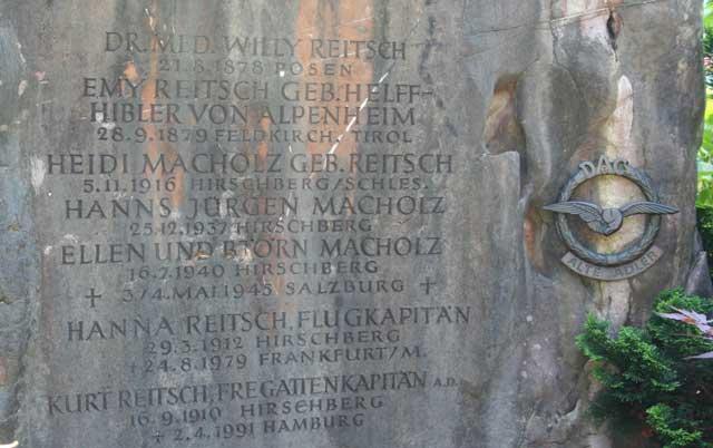 Hanna Reitsch tombstone, Third Reich graves worldwartwo.filminspector.com