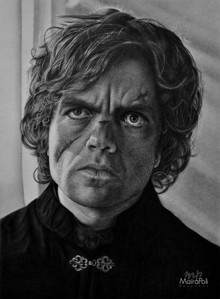 03-Tyrion-Lannister-Game-of-Thrones-Maíra-Poli-Mahbopoli-Black-and-White-Realistic-Pencil-Celebrity-Portraits-Drawings-www-designstack-co