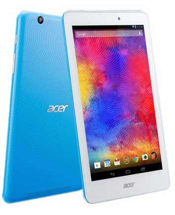 Acer Iconia One 8 B1-820 Specifications - LAUNCH Announced 2015, April  This is not a GSM device, it will not work on any GSM network worldwide DISPLAY Type IPS LCD capacitive touchscreen Size 8.0 inches (~67.9% screen-to-body ratio) Resolution 800 x 1280 pixels (~189 ppi pixel density) Multitouch Yes BODY Dimensions 213.9 x 127.7 x 9.5 mm (8.42 x 5.03 x 0.37 in) Weight 355 g (12.52 oz) SIM No PLATFORM OS Android OS, v5.0 (Lollipop) CPU Quad-core 1.33 GHz Chipset Intel Atom Z3735G GPU  MEMORY Card slot microSD, up to 32 GB (dedicated slot) Internal 16/32 GB, 1 GB RAM CAMERA Primary 5 MP Secondary VGA Features Yes Video 1080p NETWORK Technology No cellular connectivity 2G bands N/A GPRS No EDGE No COMMS WLAN Wi-Fi 802.11 b/g/n NFC No GPS Yes, with A-GPS, GLONASS USB microUSB v2.0 Radio No Bluetooth v4.0 FEATURES Sensors Accelerometer Messaging Email, Push Email, IM Browser HTML5 Java No SOUND Alert types Vibration; MP3, WAV ringtones Loudspeaker Yes, with stereo speakers 3.5mm jack Yes BATTERY  Non-removable Li-Ion 4550 mAh battery (17.2 Wh) Stand-by  Talk time Up to 8 h 30 min (multimedia) Music play  MISC Colors Various  - MP3/WAV/eAAC+ player - MP4/H.263 player - Photo/video editor - Document viewer