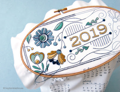 2019 Fabric Calendars for hand embroidery by SeptemberHouse