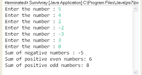 Write a program to print the sum of negative numbers, sum