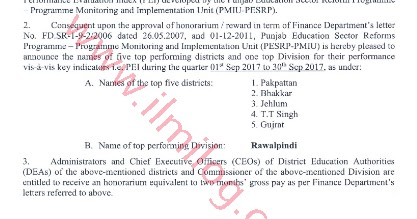 Two Months Gross Pay to Education Managers of Top Performing