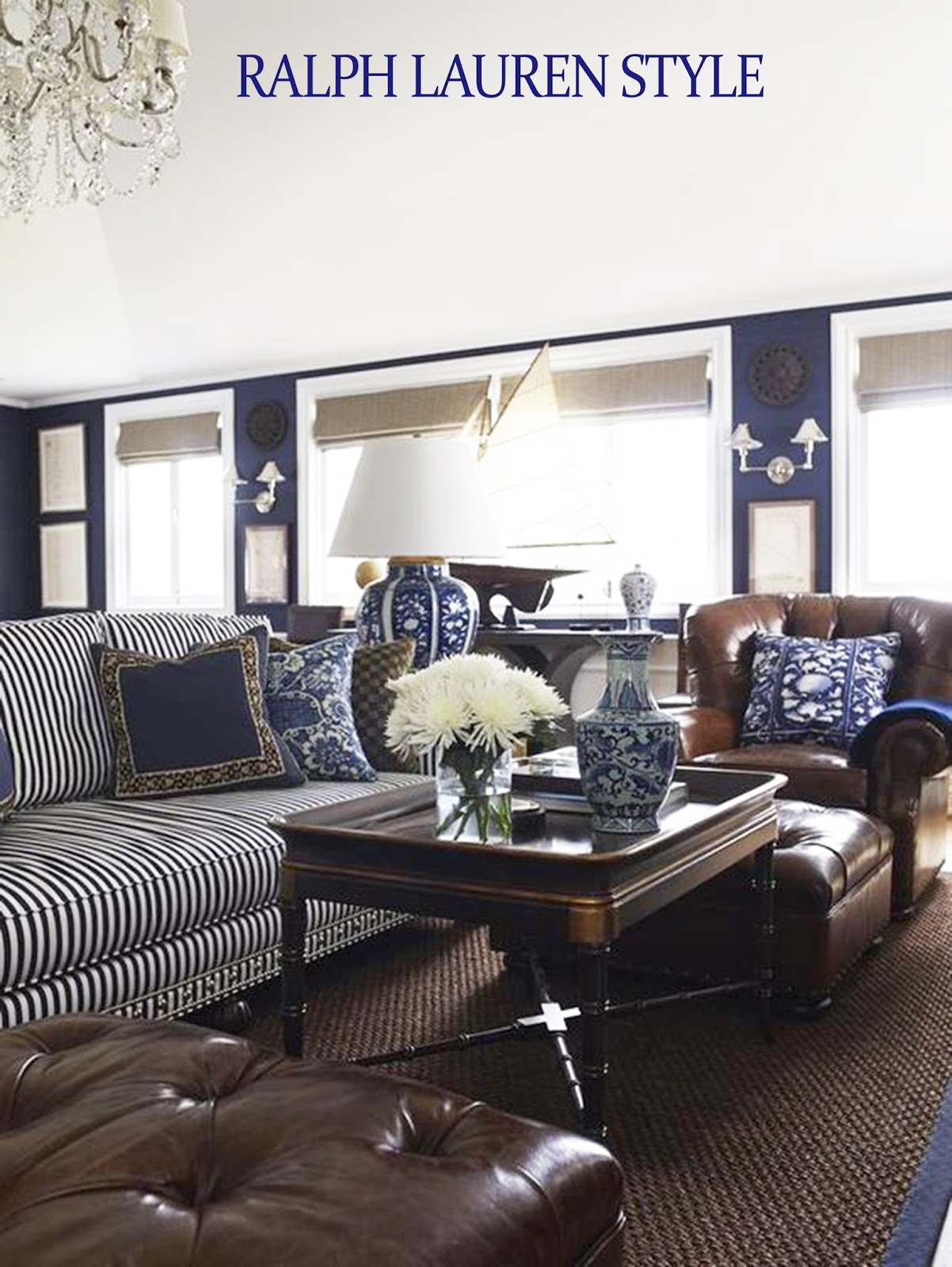 coastal style ralph lauren in navy brown. Black Bedroom Furniture Sets. Home Design Ideas