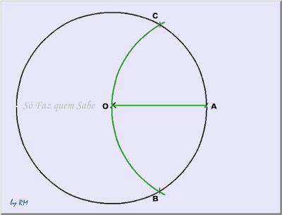 Desenho mostrando uma circunferência com o traçado do raio e de um arco que definiram os pontos B e c para a construção de um polígono de nove lados iguais
