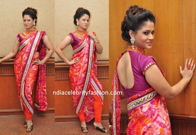 Anchor Shilpa Chakravarthy in Trendy Saree Draping