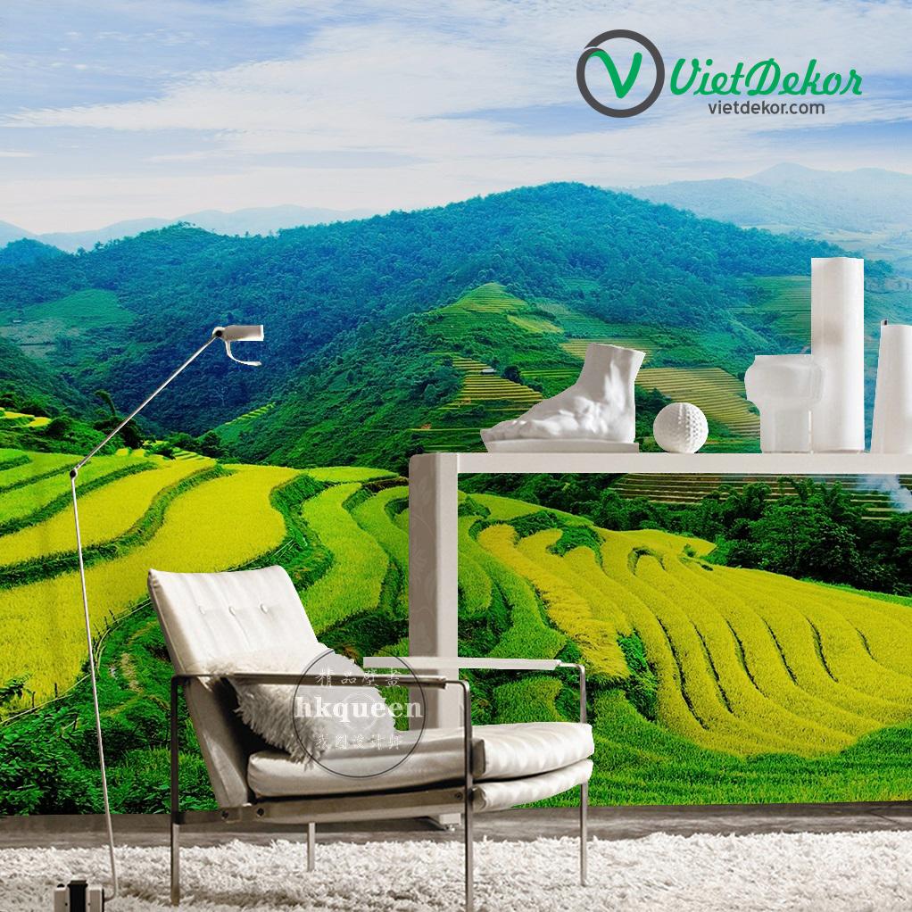 Tranh dán tường 3d phong cảnh thiên nhiên trên núi
