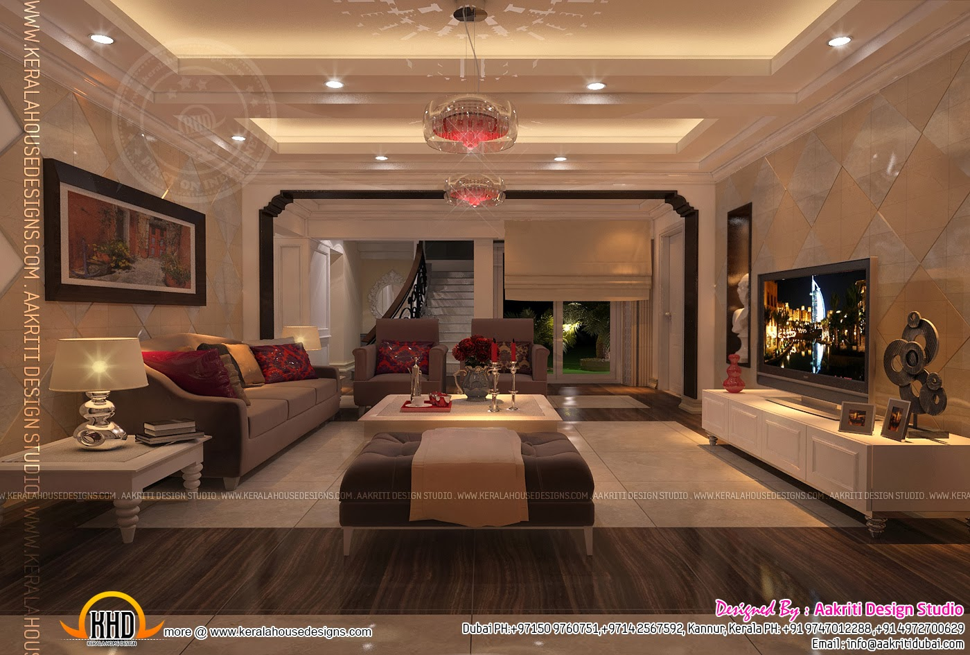 Interior design of living room dining room and Kitchen  Kerala home design and floor plans