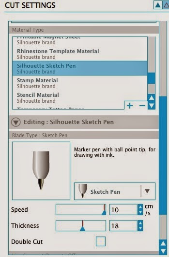 Sketch pens, multiple, Silhouette, Silhouette Studio, cut settings