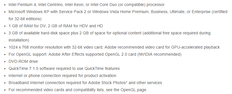 Adobe After Effect CS3 System Requirements