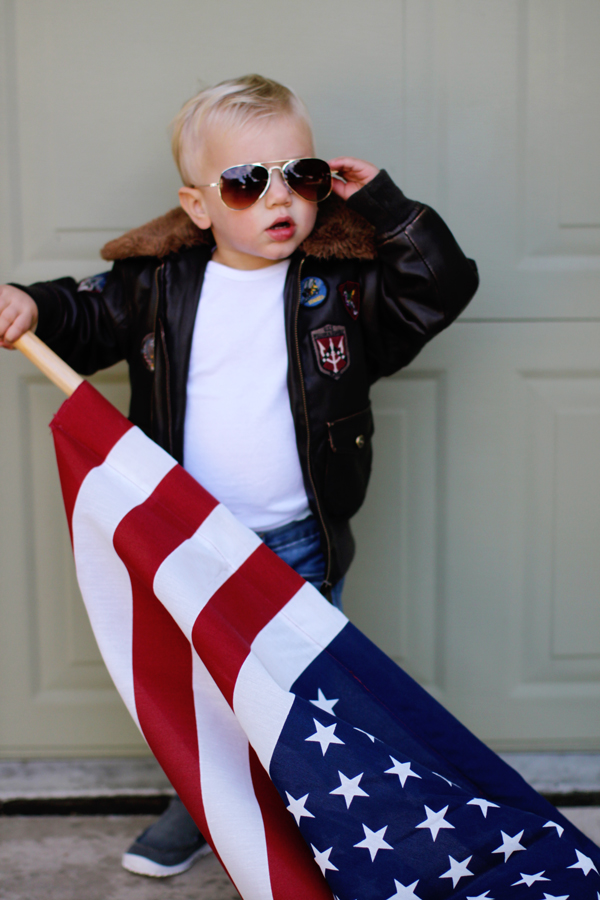Toddler Top Gun costume: mini Maverick