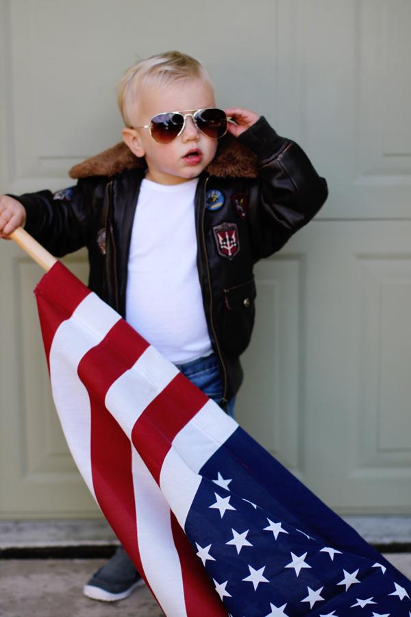 Toddler Top Gun costume: mini Maverick