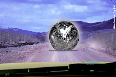 UFO Sphere Lands On The Road