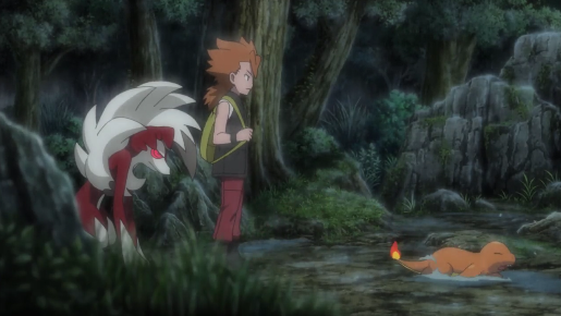 Pokémon the Movie I Choose You Cross Lycanroc kicked Charmander raining