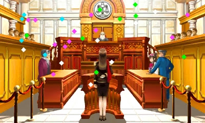 Not Guilty confetti cheering Phoenix Wright Ace Attorney Lana Skye Rise from the Ashes
