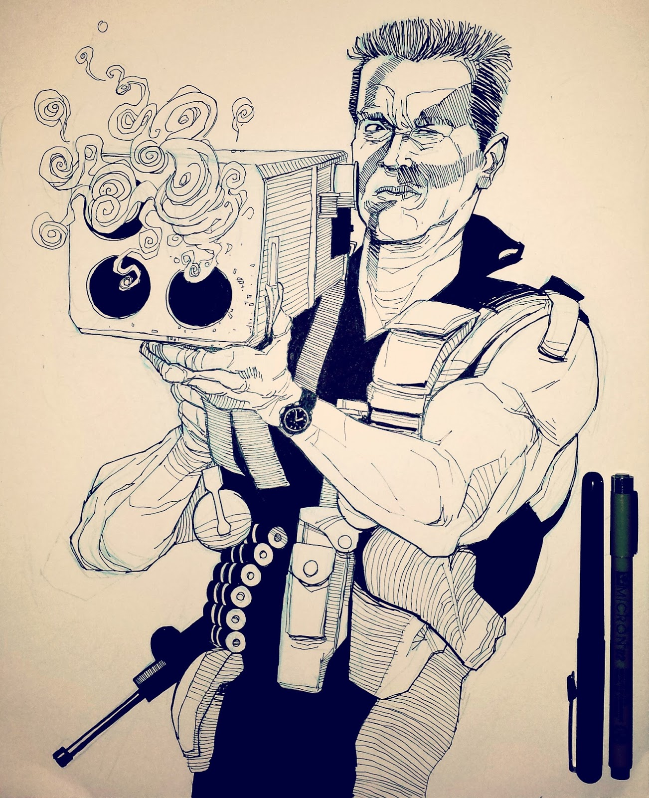 Drawing Arnold Schwarzenegger Commando
