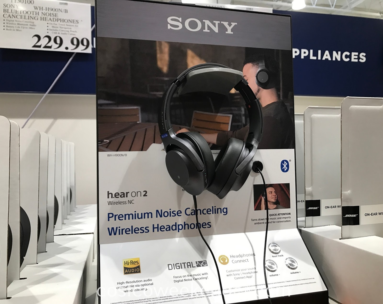 Listen to your favorite songs with the Sony h.ear on 2 Noise Canceling Wireless Headphones WH-H900N