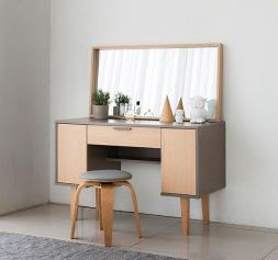 wooden dressing table for bedroom with large mirror design