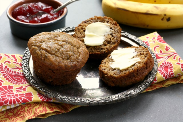 Whole wheat banana flax muffins are a wholesome afterschool snack.