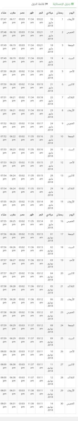 إمساكية رمضان في قطر 2018 , 1439 هجريه