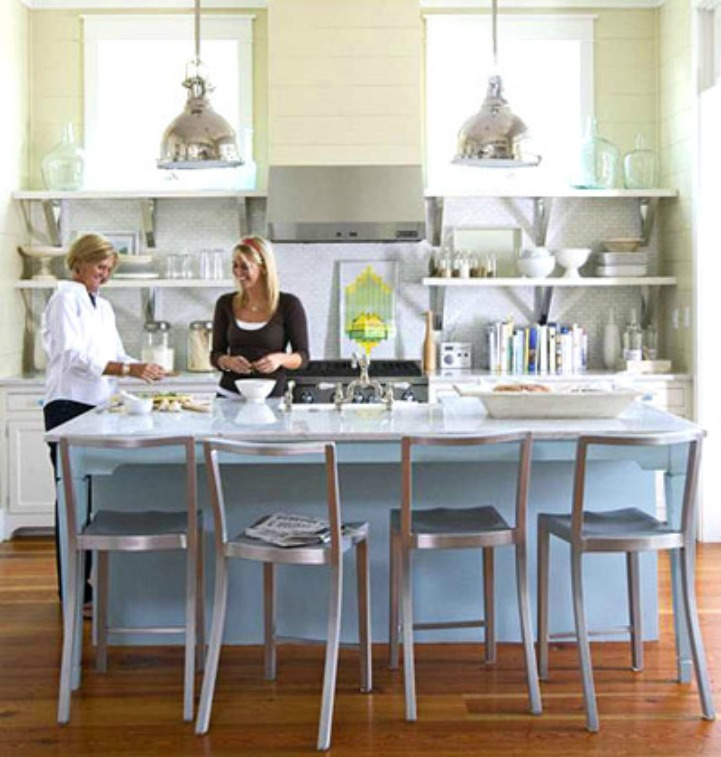 Coastal kitchen with silver fox light pendants