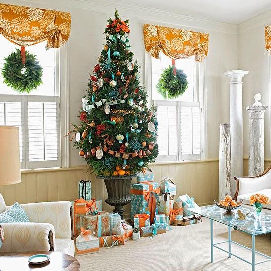 árbol navideño naranja turquesa